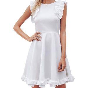 little White ruffle mini white dress